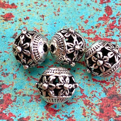 Tibetan Silver Flower Dot Bead_8mm