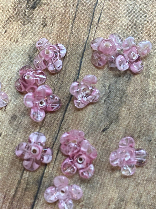 Tiny Pink Opaque / Transparent Pink Lampwork Glass Beads