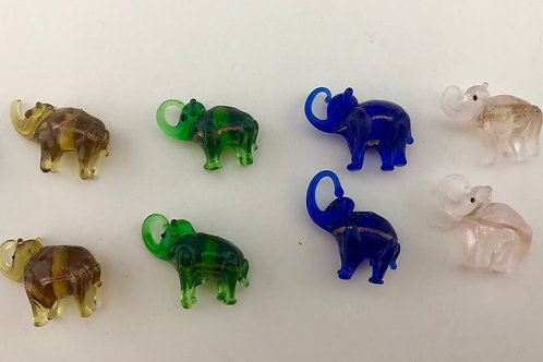 Set of 10 Vintage Lampwork Elephant Beads