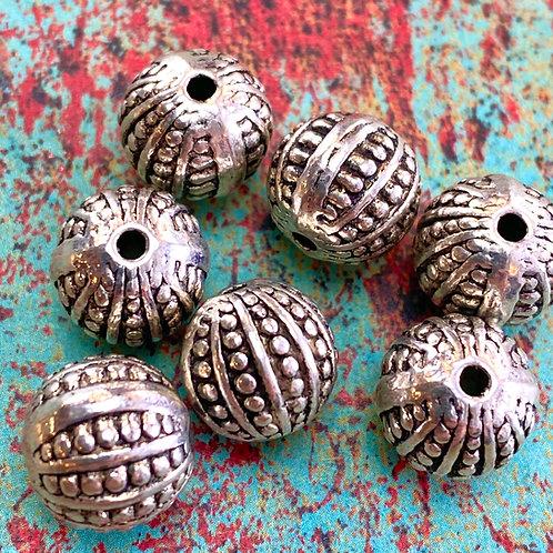 Tibetan Silver Scallop Dot 10mm Bead