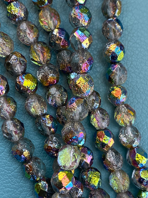 8mm Etched Crystal Rainbow Fire Polished Bead Strand