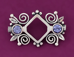 4mm Bicone Bead Frame, Sterling Silver & Crystal