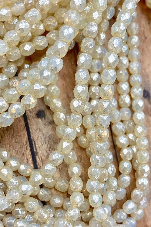 4MM  Fire Polished Ivory Opal with Mercury Finish