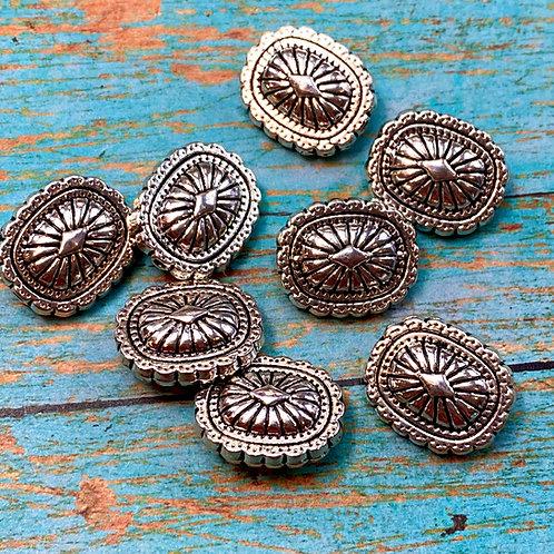 Western Concho Bead Silver