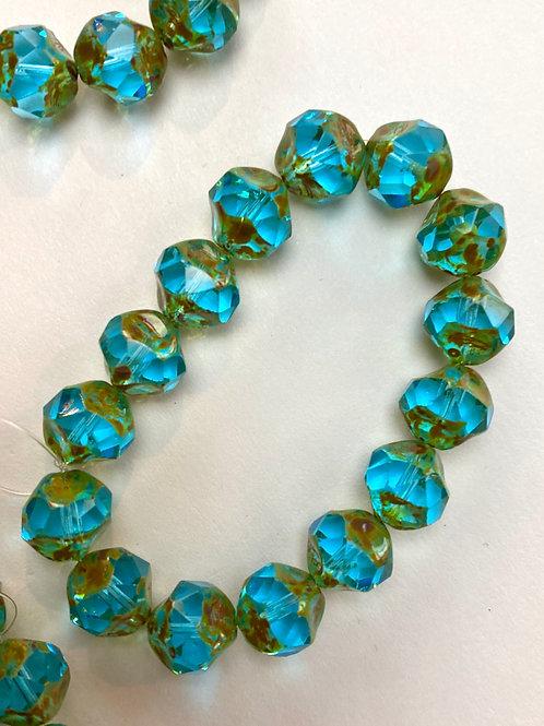 Center Cut 9mm Aqua Blue /Picasso Finish Czech Glass Bead Strand