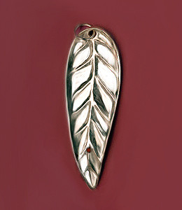 Sterling Silver Leaf Charm (back)