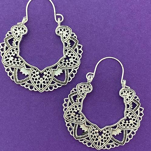 Highly Detailed Dangle Hoop Earrings