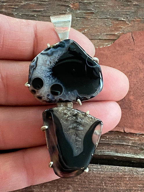 Brown Agate Hinged Pendant