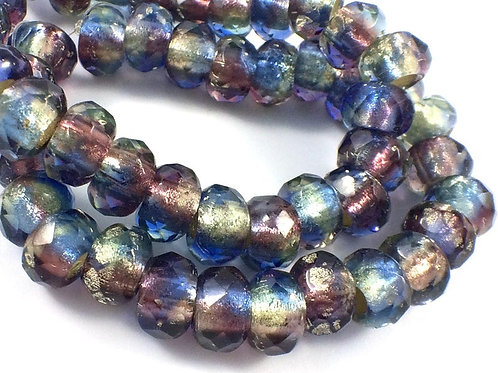 6x9mm Large Hole Bead Purple, Blue, Pale Yellow with Silver Lining