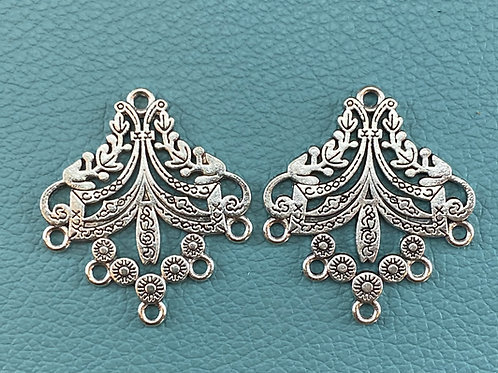 Detailed Silver Chandelier components (pair)