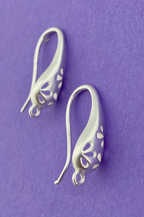 Brushed Silver Cut Out Teardrop Fish Hooks