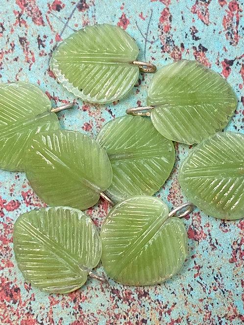 Lampwork Czech Glass Aspen Leaf