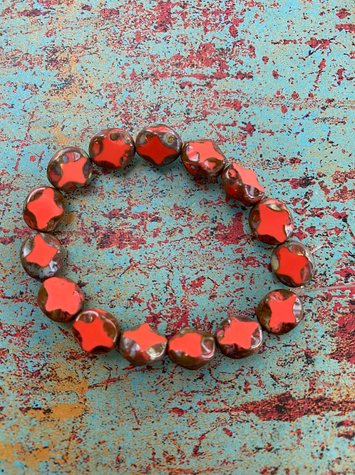 8x9mm Diamond, Oval Picasso Bead Strand, Coral Red