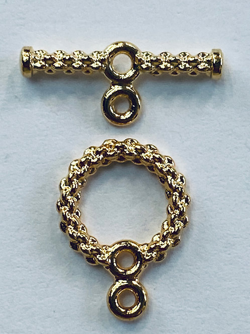 Woven Rope Toggle Clasp, Gold
