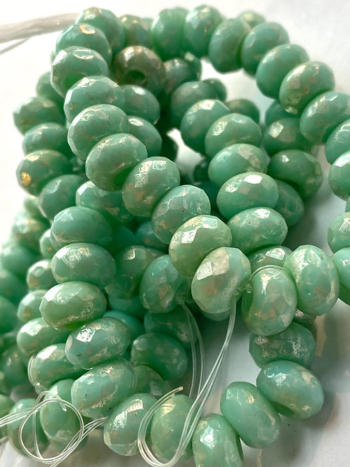 6x9 Large Hole Bead, Mint Green w Silver Ore Finish