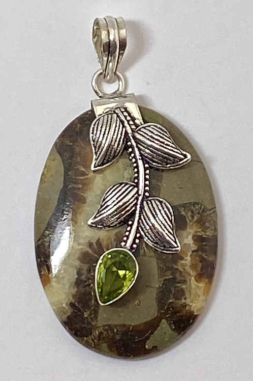 Dragon Septarian Pendant w Center Peridot Leaf Focal