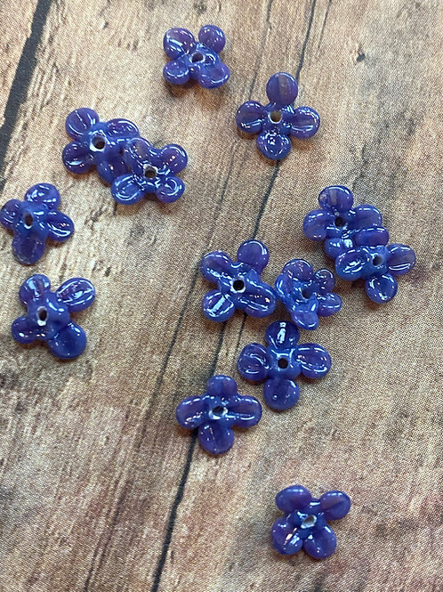 Tiny Deep Blue Lampwork Flower Beads