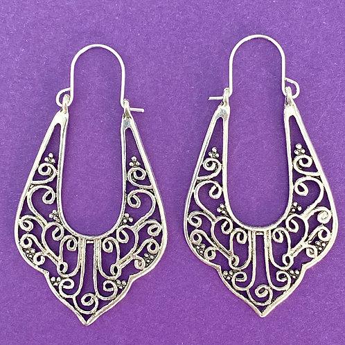 Antique Silver Bohemian Open Work Earrings