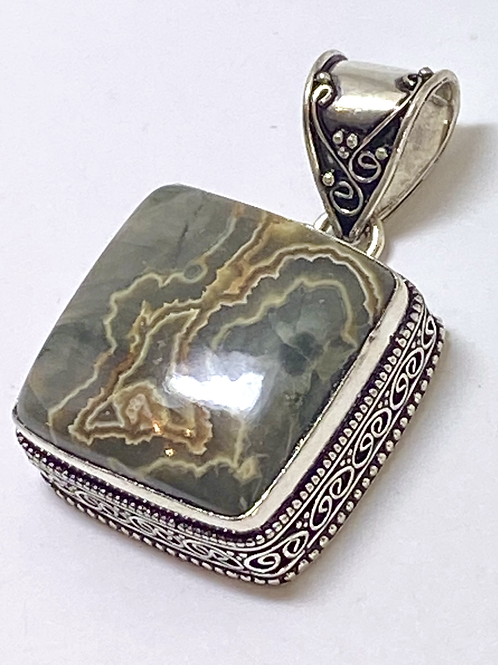 Grey Rhyolite Square Pendent w Bail