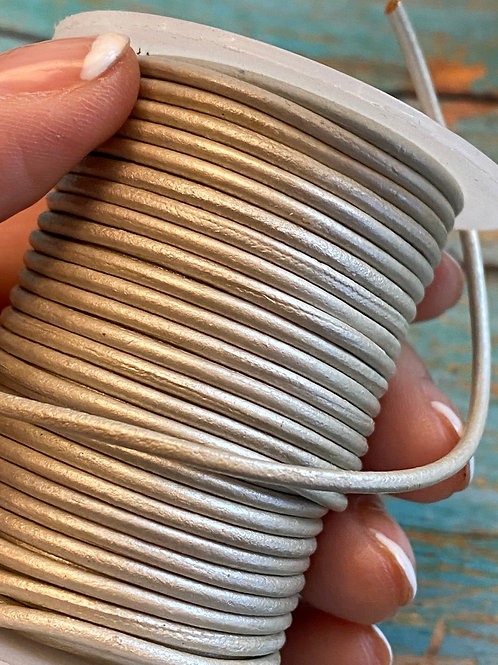 2mm Metallic Ivory Round Leather Cord