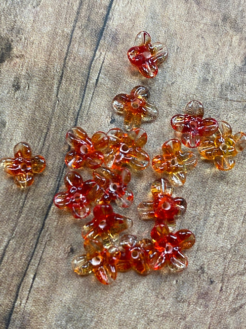 Tiny Orange / Red Lampwork Flower Beads