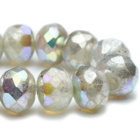 6mm Faceted Opal Rondelle w Metallic AB Mercury Finish