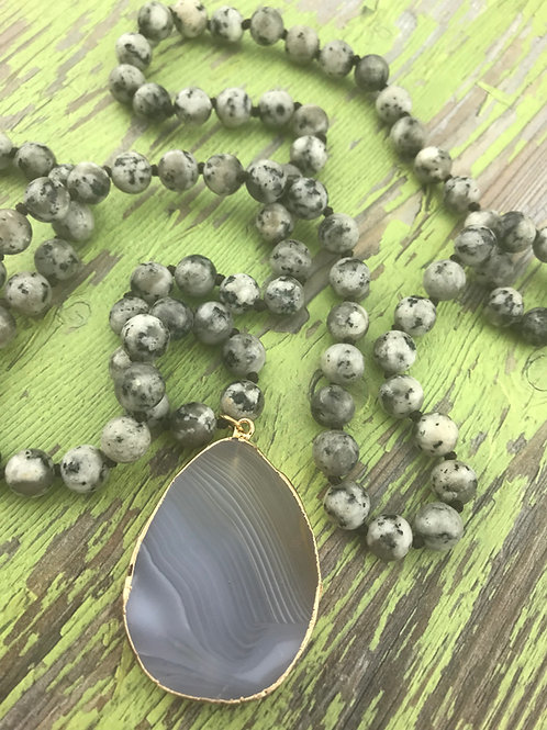 Hand Knotted Agate Bead with Pendant Necklace