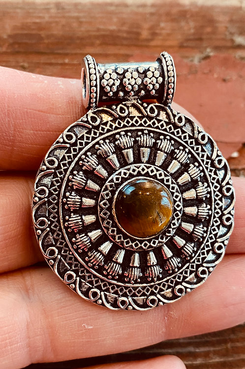 Tiger Eye Antique Silver Medallion