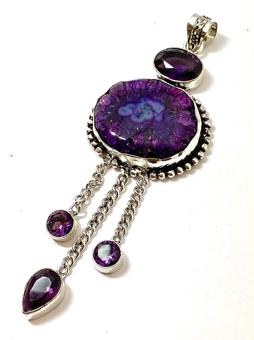 Crystalized Purple Solar Quartz Pendant w Amethyst Dangles
