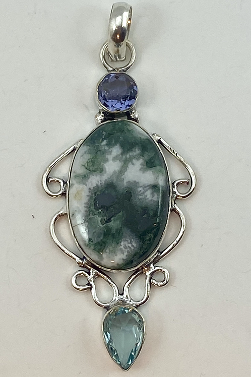 Green Moss Agate, Blue Topaz & Amethyst Pendant with Bail