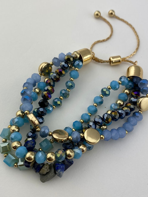 4 Strand Gemstone & Crystal Adjustable Bracelet - In Blues