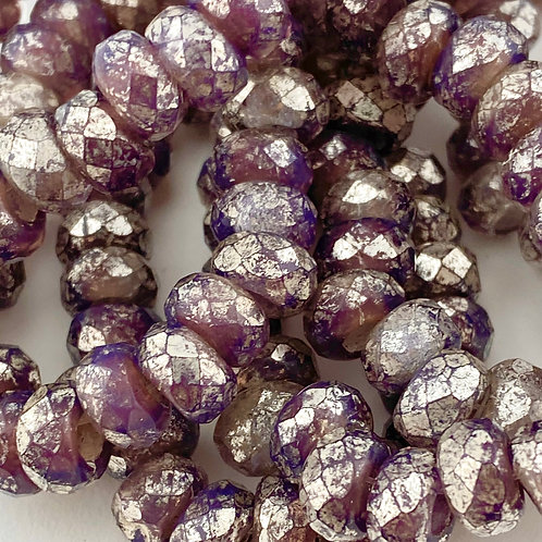 6x9mm Roller Bead Mulberry with Mercury Finish