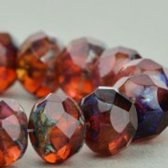 Pink / Amber Opaline Mix, Picasso 9x6mm  Rondelle