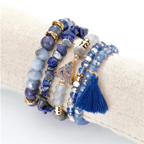5 Piece Stacking Bracelet Set (Blue)