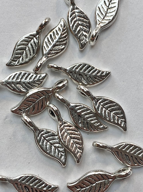 Tibetan Silver Single Leaf Charm