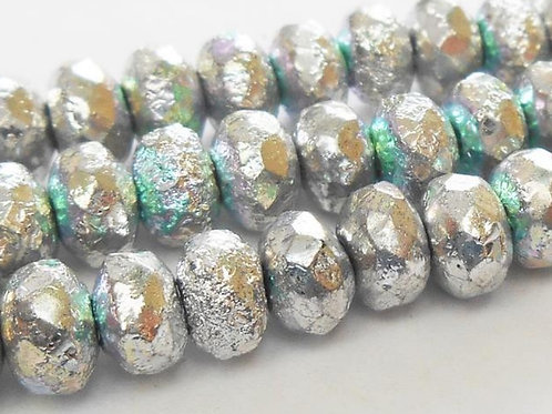 4x6 Metallic Silver Etched Rondelle Bead Strand