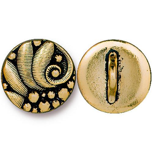 Czech Style Antique Round Gold Button