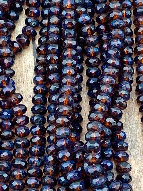 Blue Brown Czech Glass Rondelles