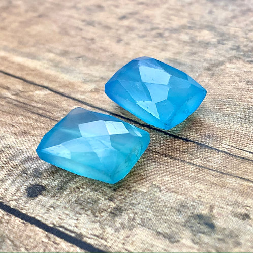 Blue Chalcedony Faceted Fancy Rectangular (2 pcs)