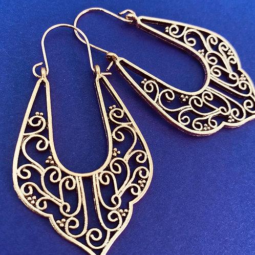 Gold Plated Bohemian Open Work Earrings