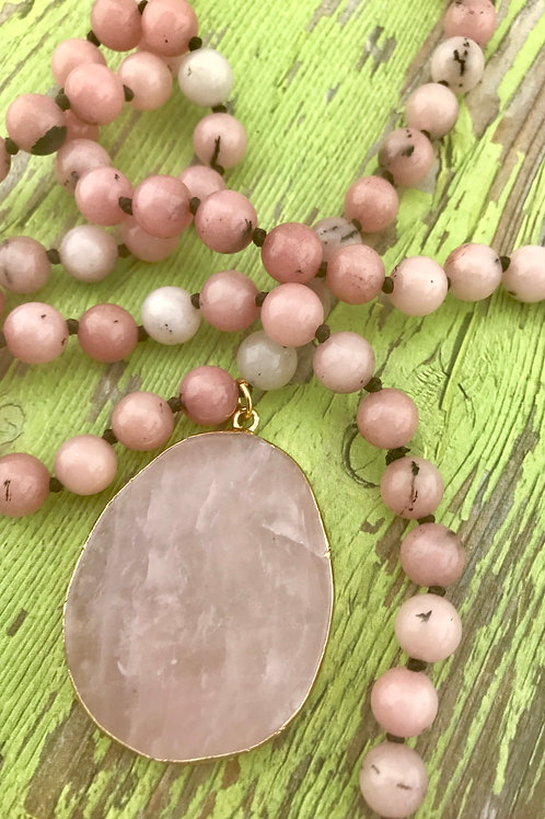 Rose Quartz Hand Knotted Bead Necklace with Pendant