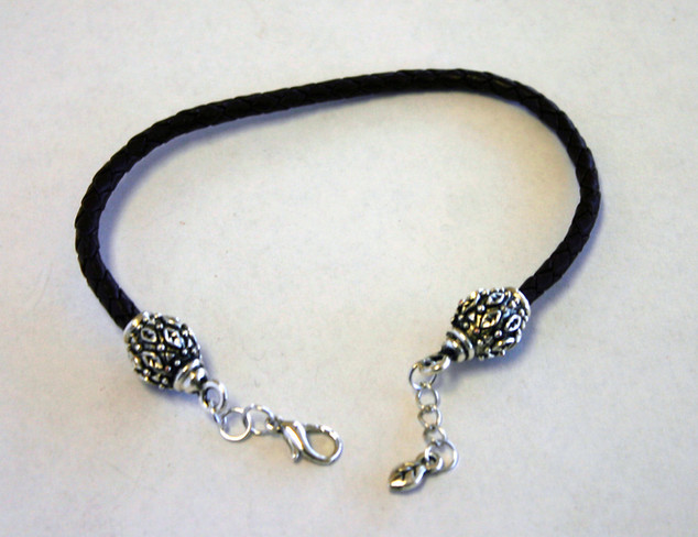 3mm Leaf Cord End Caps & Clasp with leather cord