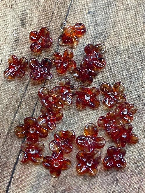 Tiny Red / Orange Lampwork Flower Beads