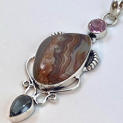 Crazy Lace Agate& Pink Topaz & Mystic Topaz Pendant with Bail