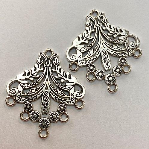 5 Drop Antique Silver Floral Chandelier (pair)
