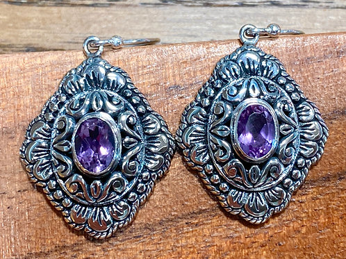 Sterlig Silver & Amethyst Gemstone Earrings