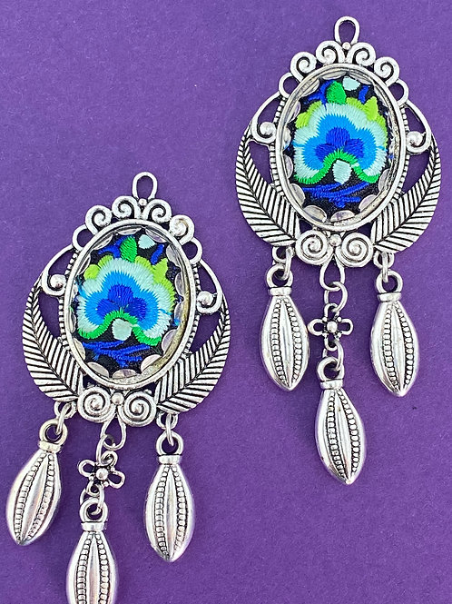 Blue Hand Embroidered in Antique Silver Chandeliers