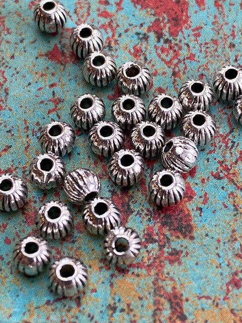 Tibetan Silver Ribbed 4mm Bead Lot  (6 pcs)