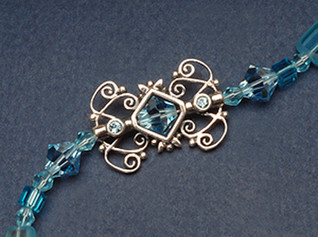 8mm Bicone Bead Frame with Crystals shown strung