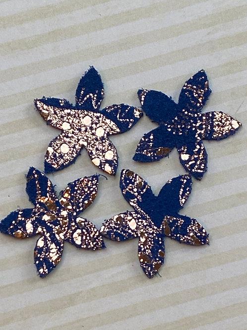 Star of Jasmine /Royal Blue & Rose Gold Foil Leather